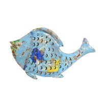 Metall Fisch Laterne hellblau Shabby Chic