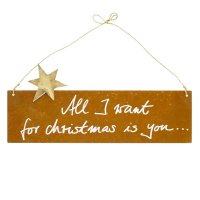 Edelrost Spruchtafel S quer Stern | All I want for christmas