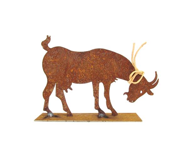 Kunstschmiede neumeier burgau rostige ziege steinbock for Tiere aus metall gartendeko