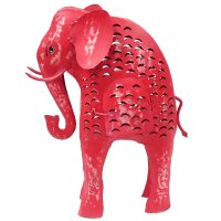 Metall Elefant Laterne pink rot Shabby