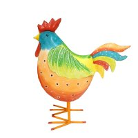 Buntes Metall Huhn orange